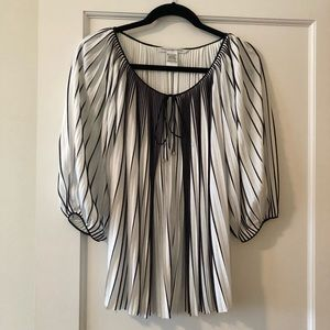 Diane Von Furstenberg Black & White Blouse, New!